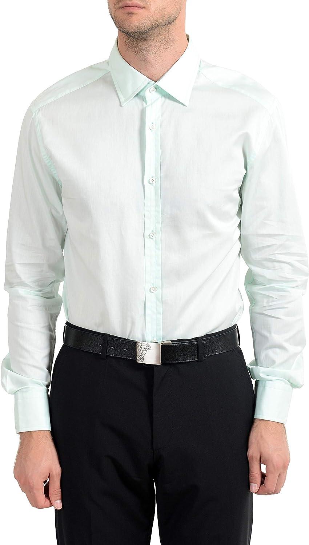 Hugo Boss T-Shane Men's Green Slim Fit Long Sleeve Dress Shirt US 16.5 IT 42