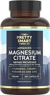 Magnesium Citrate 1480mg – 180 Vegan Magnesium Capsules not Magnesium Tablets – with Turmeric, Zinc, Vitamins D3 & B6 - Hi...