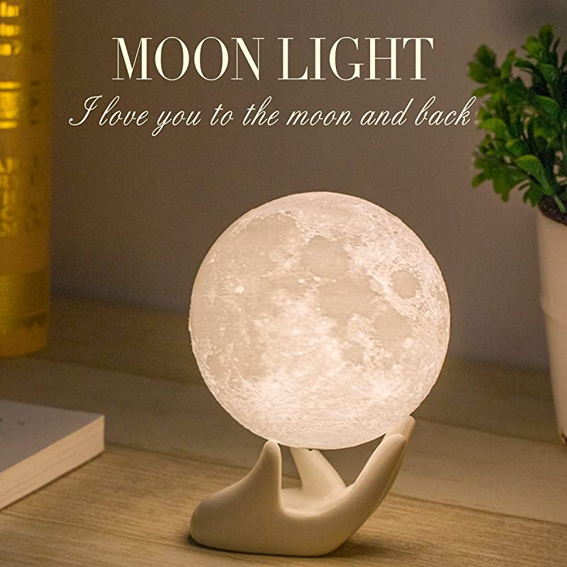 Mydethun Moon Lamp Moon Light Night Light For Kids Gift For Women USB Charging And Touch Control Brightness 3D Printed Warm And Cool White Lunar Lamp 3 5In Moon Lamp With Stand
