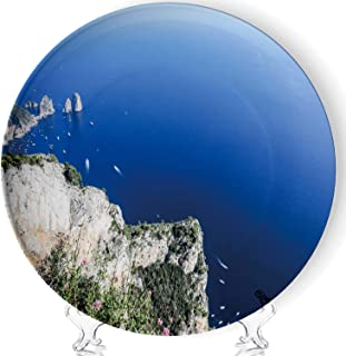 C COABALLA Italy Island of Capri Mount Solaro Art Decorative Ceramic Plates Display Plate Crafts,with Stand,for Living Room of The Home,7''