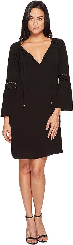 Lace-Up Sleeve Dress