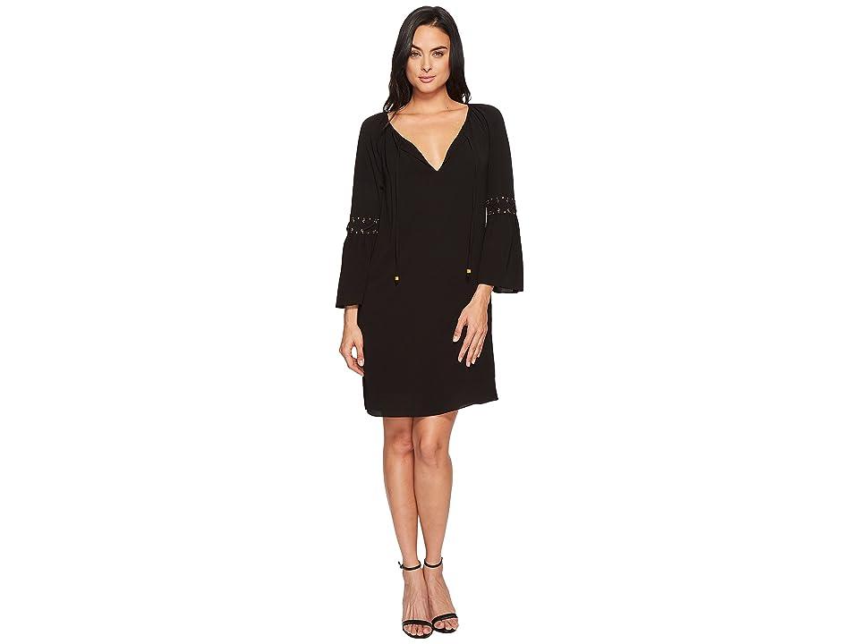 MICHAEL Michael Kors Lace-Up Sleeve Dress (Black) Women