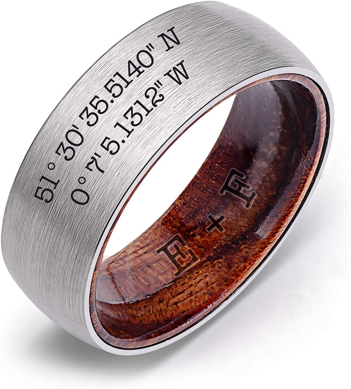 Ulan Moron Custom Engraved Rings for Men Brushed Silver Milwaukee Mall Import Women Fi