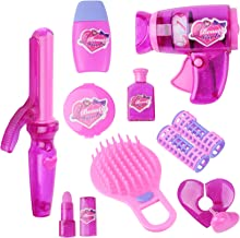 KYToy 9 Piece Vogue Girls Beauty Salon Playset for Kids Make Up Kit Pretend Play Barber Shop Toy Hair Salon Set Including Hair Dryer, Comb, Curler, Make Up Accessories(XM335-D)