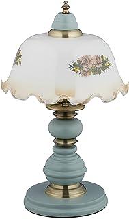 Relaxdays Lámpara de mesa, diseño de flores, estilo rústico, E27, madera, cristal, lámpara de mesa, altura 44 x 27 cm, color blanco/gris