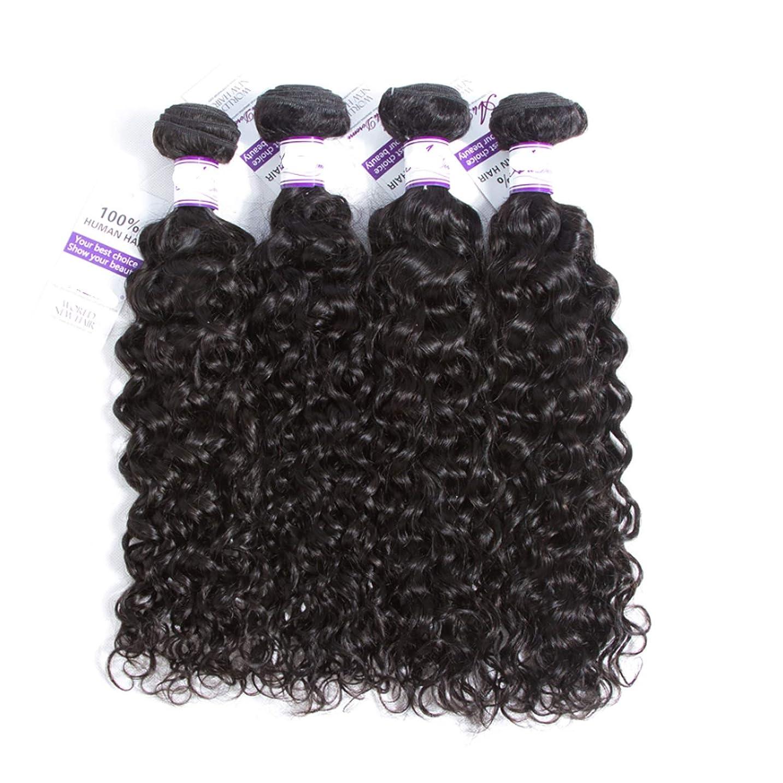 傾向がある延期するマウスマレーシア水波髪バンドル8-28インチ100%人毛織りのremy髪ナチュラルカラー4ピース髪織り かつら (Stretched Length : 14 14 14 14)