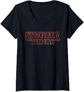 Femme Netflix Stranger Things Neon Logo T-Shirt avec Col en V