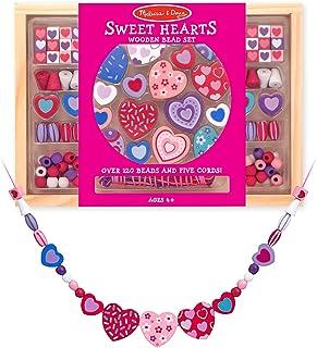 Melissa & Doug Wooden 'Sweet Hearts' Bead Accessory Creation Set + Free Scratch Art Mini-Pad Bundle [41751]
