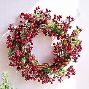 CATLXC Déco Noël Couronne De Noël 45cm Pomme De Pin Echinacea Fruits Rouges - Décoration De Noël Grandes Guirlandes Fleurs Artificielles