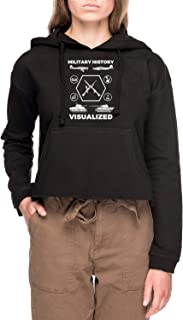 Military History Visualized - Planes, Tanks & Icons Mujer Sudadera con Capucha De Crop Negro Women's Crop Hoodie Black