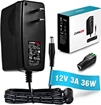 [UL Listed] Chanzon 12V 3A 36W AC DC Switching Power Supply Adapter (Input 100-240V, Output 12 Volt 3 Amp) Wall Wart Transformer Charger for DC12V LED Strip Lights CCTV Cameras (6Ft Cord, 36 Watt Max)
