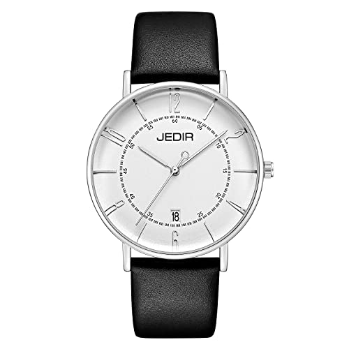 JEDIR Mens Fashion Minimalist Wrist Watch Analog with Date and Leather Band 3ATM Water Resistant