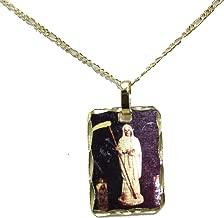 Medalla Santa Muerte Ripper Angel of Death La Santisima 14 K Chapado en Oro Medalla con Cadena de 56 cm