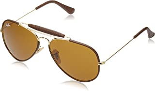 Ray-Ban RB3422Q Outdoorsman Craft Aviator Sunglasses, Leather Brown/Brown, 58 mm