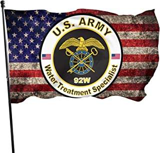 PINGqi US Army MOS 92W Water Treatment Specialist with American Flag Banner Breeze Flag Outdoor Flags Home Flag 3' X 5' Ft