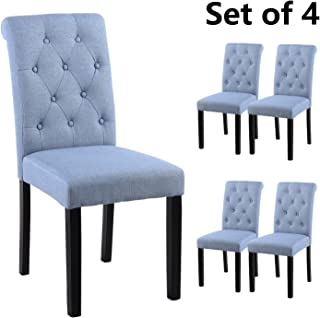 YEEFY Fabric Habit Solid Wood Tufted Parsons Dining Chair (Set of 4) (Light Blue)