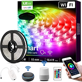 Alexa Smart LED Strip Lights, 16.4ft RGB Color Changing LED Strip Lights Works with Alexa and Google Home, App&Remote&Voice Controlled SMD 5050 LED Tape Lights for Bedroom, Home, Kitchen, TV and Party