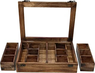 Galaxy Indiacraft Wooden Multipurpose Utility Table Top Spice Box | Removable Containers | Jars Cum Kitchen and Dry Fruit ...