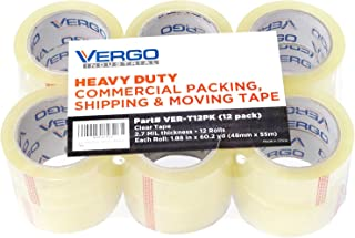 Vergo Industrial Heavy Duty Clear Packing Tape 2.7mil for Moving Packaging Shipping and Office (12 Pack)