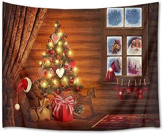 LB クリスマス飾り物 タペストリー 窓外のサンタクロース おしゃれ壁掛け 装飾布 欧米風 インテリア デコレーション 多機能 パーティー リビング 窓 お店 個性ギフト 人気 お祝い 200x150cm …