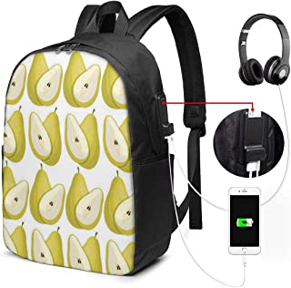 17 Inch Laptop Backpack USB Port Pear Travel Computer Bag for Women Men College Business