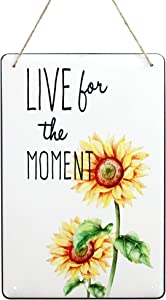 Wartter 11.8 x 7.8 inches Metal Sunflower Wall Decorative Sign with Hanging Rope - Live for the Moment