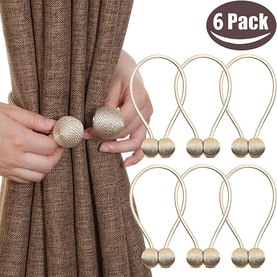 Melaluxe 6 Pack Magnetic Curtain Tiebacks, Decorative Curtain Holdbacks for Window Décor (Beige)