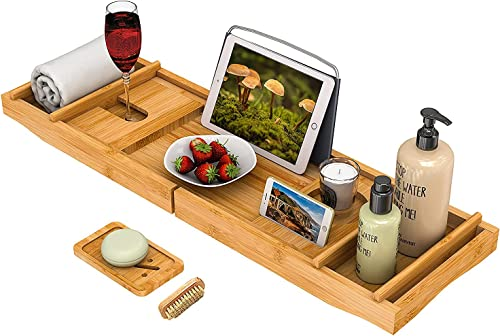 Bath Caddy Tray for Bathtub - Bamboo Adjustable Organizer Tray for Bathroom with Free Soap Dish Suitable for Luxury S...