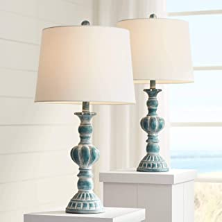 Tanya Traditional Table Lamps Set of 2 Blue Washed Tapered Drum Shade for Living Room Bedroom Bedside Nightstand Office Family - Regency Hill