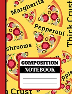Composition Notebook: Bold Bright Pizza Name Print Writing Gift - Lined COLLEGE RULED Notebook for Teens, Boys and Men