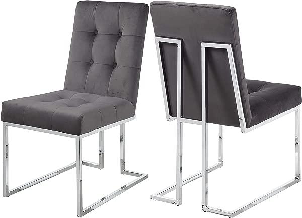 Meridian Furniture 731Grey C Alexis Velvet Dining Chair Set Of 2 Grey