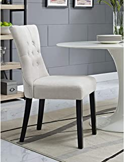 BSD National Supplies Decorium Beige Fabric Upholstered Curved Dining Chair Set of 1