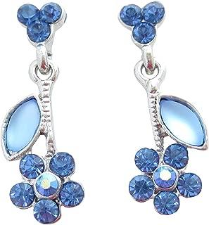 Blaue funkelnde Glitzer-Ohrstecker Blume hängend Swarovski-Strass Metall nickelfrei Ohrringe Handarbeit Party Fest Hochzeit Geschenk für sie