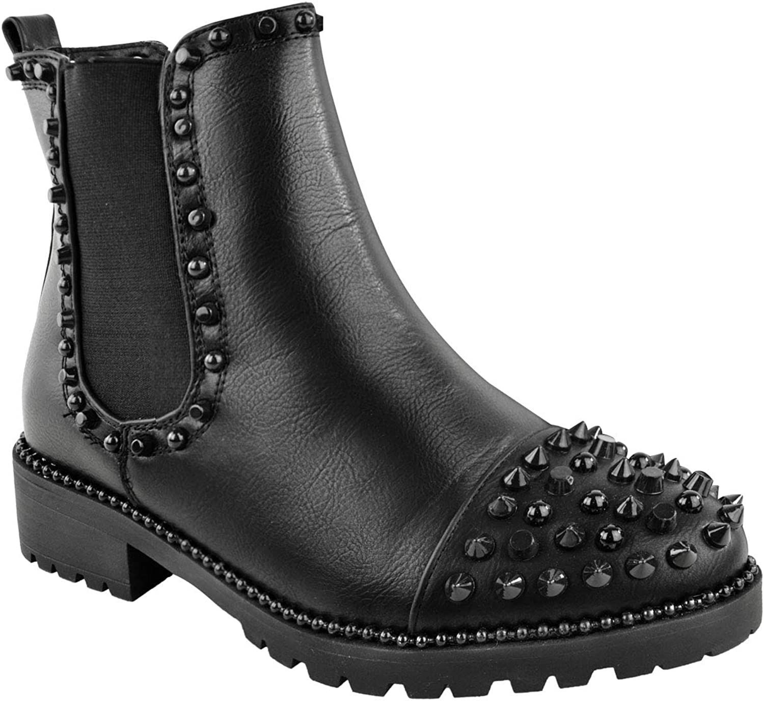 Fashion Thirsty Womens Low Spike Studded Chunky Ankle Boots Biker Goth Punk Grunge Size