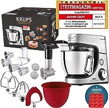 Robot de cocina Krups Premium 17 pzs., bol acero inox. 4,6 l, bol silicona, 4 agitadores acero inox., apto para lavavajillas, 1100 W, cortadora, picadora de carne, recetas gratis y molde 12 pasteles