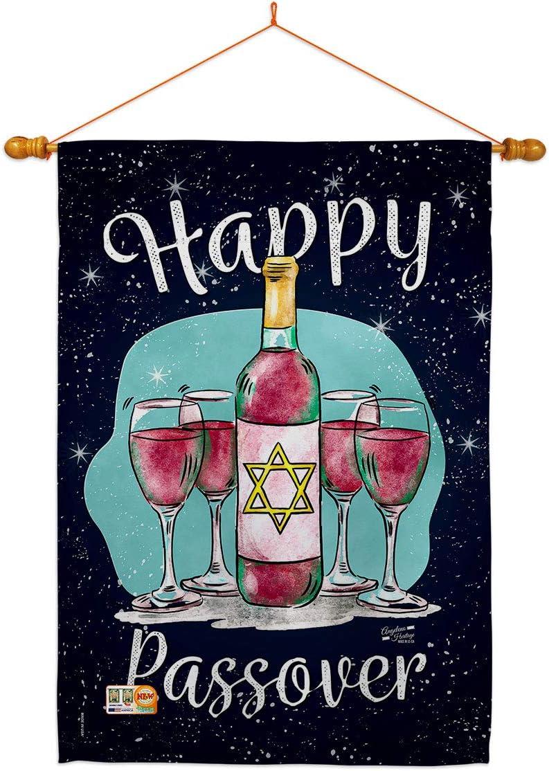 Angeleno 卓越 Heritage 特売 Passover Happy House Flag Dowel Set Religious