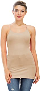 NANAVA Women's Basic Solid Classic Longline Adjustable Spaghetti Strap Camisole Tank Top