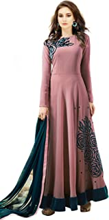 Florely Women's Georgette Semi-Stiched Anarkali Patch Work Long Salwar Suits/Gown