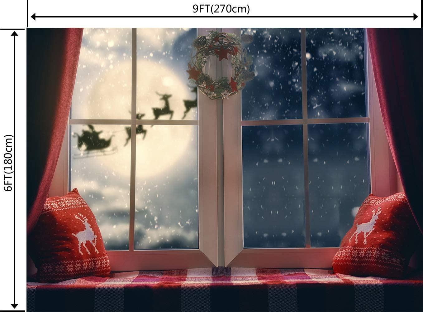 DULUDA 9X6FT Christmas Backdrop Winter Snowflake Pillow Window Sill Moon Reindeer Santa Garland Wreath Holiday Family Party Kids Photography Background Decoration Photo Studio Props WXL49B