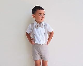 1b34d8b2 3pcs Boy Suspender Shorts Outfit - Beige, Boy Linen Suit,Linen Pants, Boy