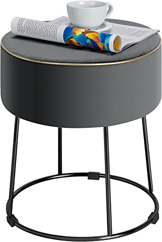 wholesale Giantex Round Footrest Stool Ottoman, Velvet online sale Vanity Sitting Stool, Upholstered Side Table Seat outlet online sale w/ Metal Legs, Thick Padded Seat & Non-Slip Foot Pads for Sofa Side, Bedside, Dressing Table (Grey) sale