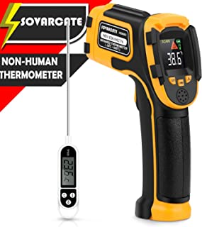 Infrared Thermometer No Touch Digital Laser Temperature Gun with Color Display -58?~1112?(-50?~600?) Adjustable Emissivity - for Cooking/BBQ/Freezer - Meat Thermometer Included -Non Body Thermometer