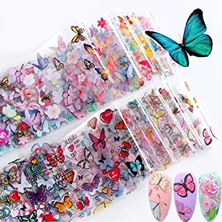 10PCS Nagel Sticker, Kalolary Vlinder Herfst Nagels Art Glitters Paillette Stickers Kleurrijke Confetti Sticker Manicure N...