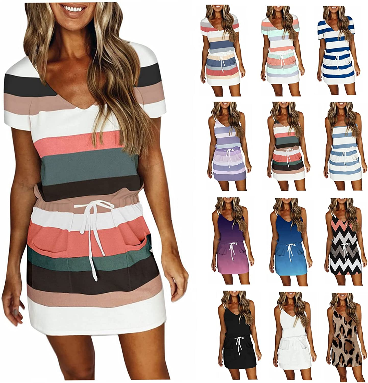 Lingbing Summer Dresses for Women Casual, Sexy V Neck Sleeveless Spaghetti Strap Dresses with Belt Stripe Mini Dresses