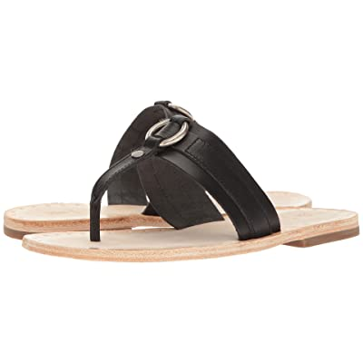 Frye Avery Harness Thong (Black Smooth Full Grain) Women