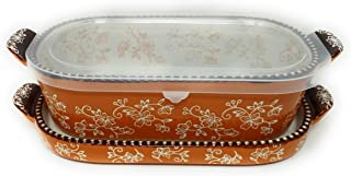 Temp-tations 1 Qt Squoval Baker w/Lid-It (Tray) & Plastic Cover, Small Casserole Dish (Floral Lace Spice)