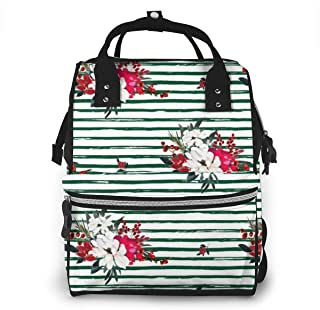 And White Christmas Flowers Multi-Function Travel Backpack Nappy Bag,Fashion Mummy Bag