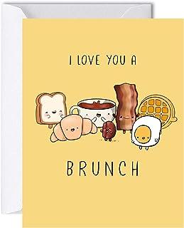 Brunch Anniversary Card for Him Her, Funny Birthday Card for Boyfriend Girlfriend, Cute Kawaii Greeting Card
