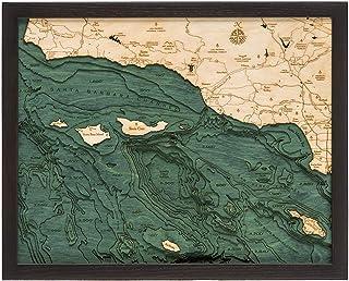 "Santa Barbara/Channel Islands 3-D Nautical Wood Chart, 16"" x 20"""
