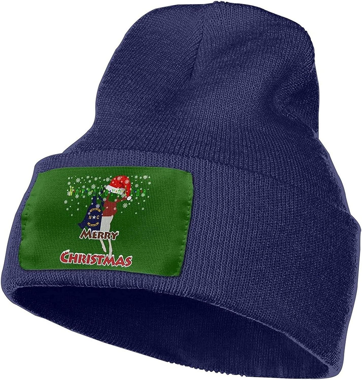 PILLFN North Carolina Whitetail Running Deer Flag Merry Christmas Unisex 12 Inch Knitted Beanie Beanie Hat Knit Hat Cap Navy
